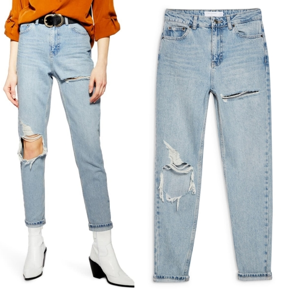 TOPSHOP Bleach Ripped Mom Tapered Jeans W24 L30